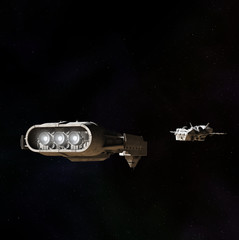 Space Ships Meeting in Outer Space - science fiction illustration