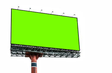 Green screen blank billboard for advertisement isolated on white background