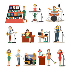 Radio people vector flat icon set