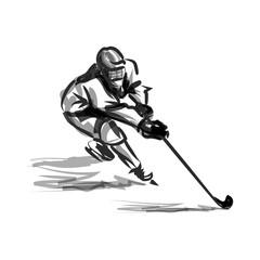 Vector ink sketch hockey player