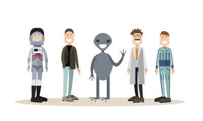 Space people flat vector icon set