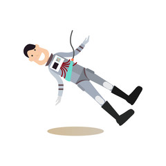 Space people concept flat vector illustration