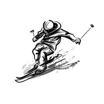 Vector ink sketch skier