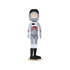 Astronaut in space suit and helmet flat vector illustration