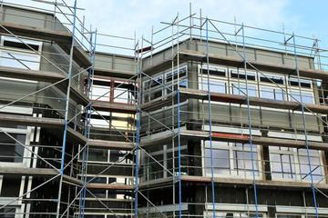 New facade cladding on a building
