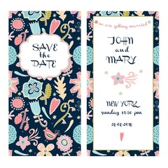 Save the date. Cute vector with flowers and hearts. Love postcard.