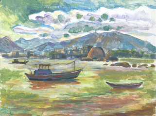 fishing boats painting