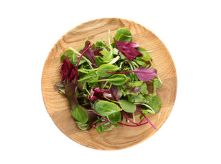 Plate with mix of salads on white background