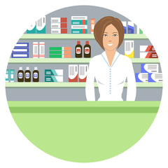 Web banner of a pharmacist in a round shape. Young woman in a pharmacy: standing in front of shelves with medicines. Vector illustration