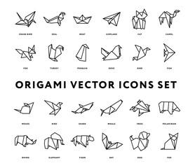 Origami Folded Paper Animals Shapes. Bird, Crane, Cat, Dog, Rhino, Fox, Mouse, Elephant. Flat Line Outline Stroke Icon Illustration Set Collection