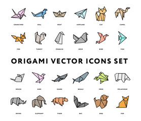 Origami Folded Paper Animals Shapes. Bird, Crane, Cat, Dog, Rhino, Fox, Mouse, Elephant. Flat Color Line Outline Stroke Icon Illustration Set Collection