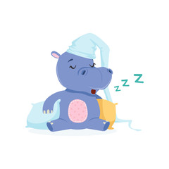 Funny baby hippo character in a hat sleeping on a pillow, cute behemoth African animal vector Illustration