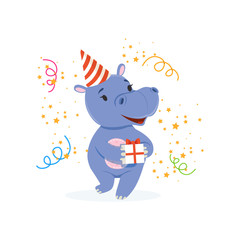 Funny baby hippo character in a party hat holding gift box, cute behemoth African animal vector Illustration