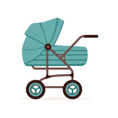 Blue baby pram or stroller, safe transportation of children vector Illustration
