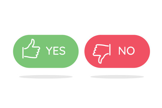 """Like and dislike icons set. Selection buttons between """"no"""" and """"yes"""". Set of modern color and style."""