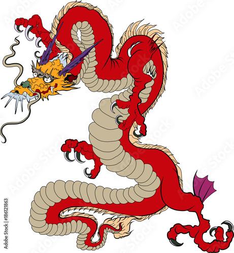 Japanese Old Dragon Sticker On Black Backgroundinese Dragon