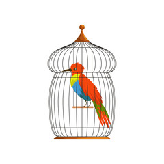 Big bird with long, brilliantly green, blue and red plumes. Cartoon character of tropical animal in old wire cage. Flat vector design for postcard, poster or flyer