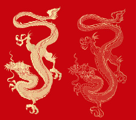 Gold dragon on red background.Chinese dragon tattoo.