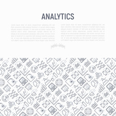 Analytics concept with thin line icons: diagram, chart, statistics, pyramid, business analysis. Modern vector illustration for banner, web page, print media.