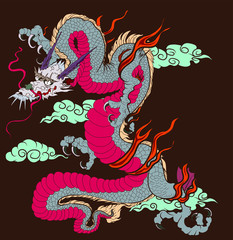 Japanese old Dragon sticker on black background.Chinese dragon tattoo. Traditional Asian tattoo the old dragon vector.
