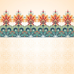 Vector seamless background with a border. Beautiful floral pattern in vintage oriental style. Simple delicate ornament.