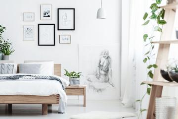 Drawing in simple bedroom