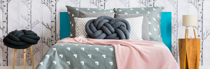 King-size bed with grey bedding