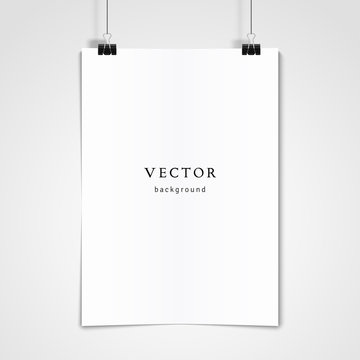 Vector template. White concave sheet of paper hangs on the clamps.