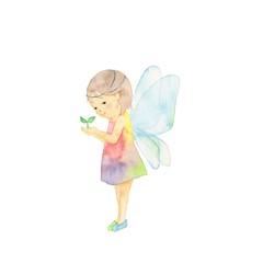 天使の羽根、小さな女の子、葉