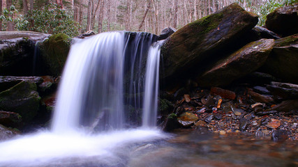 Blurred Motion and Slow Shutter Speed Water Fall Photography in the Forest.
