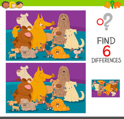find differences cartoon game with dogs