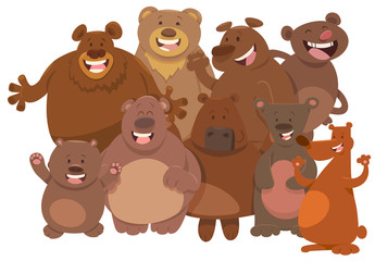 cartoon wild bears animal characters group