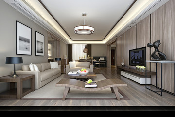 3d render of luxury hotel room