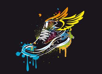 Ein buntes Sneaker Graffiti mit Flügel auf schwarzen Hintergrund