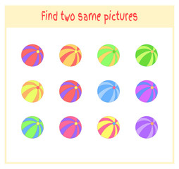 Cartoon Vector Illustration of Finding Two Exactly the Same Pictures Educational Activity for Preschool Children with balls