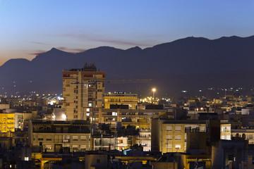 Poster de jardin Arizona Cityscape of the city of Elche at night. Horizontal Shot