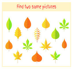 Cartoon Vector Illustration of Finding Two Exactly the Same Pictures Educational Activity for Preschool Children with leaves of the tree
