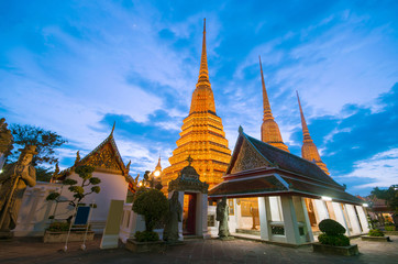 Wall Mural - Landmark of BAngkok, Wat pho at dusk