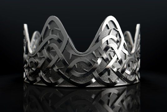Silver Crown With Thorn Patterns