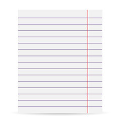 Notebook blank paper background. Isolated on a white background. Vector