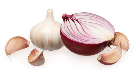Half of fresh unpeeled red onion and garlic with cloves