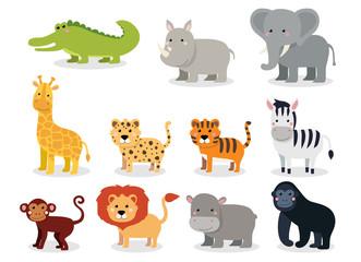 Wild animals set in flat style isolated on white background. Vector illustration. Cute cartoon animals collection: crocodile, rhinoceros, elephant, giraffe, leopard, tiger, zebra, monkey, lion, hippo