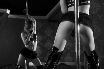 Female striptease on the pole