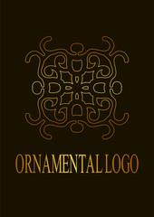 Retro ornamental logo. Flourished ornate emblem. Luxury elegant ornament. Vintage element. Template for design. Vector illustration