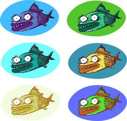 ugly fish various color cartoon style vector illustration