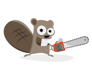 beaver with chainsaw clipart
