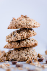 Homemade chocolate chip cookies on white background.