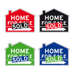 Home for sale sold road sign set