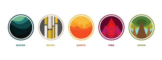 Feng shui stylized flat colorful vector icons