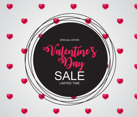 Valentines Day Sale, Discount Card. Vector Illustration